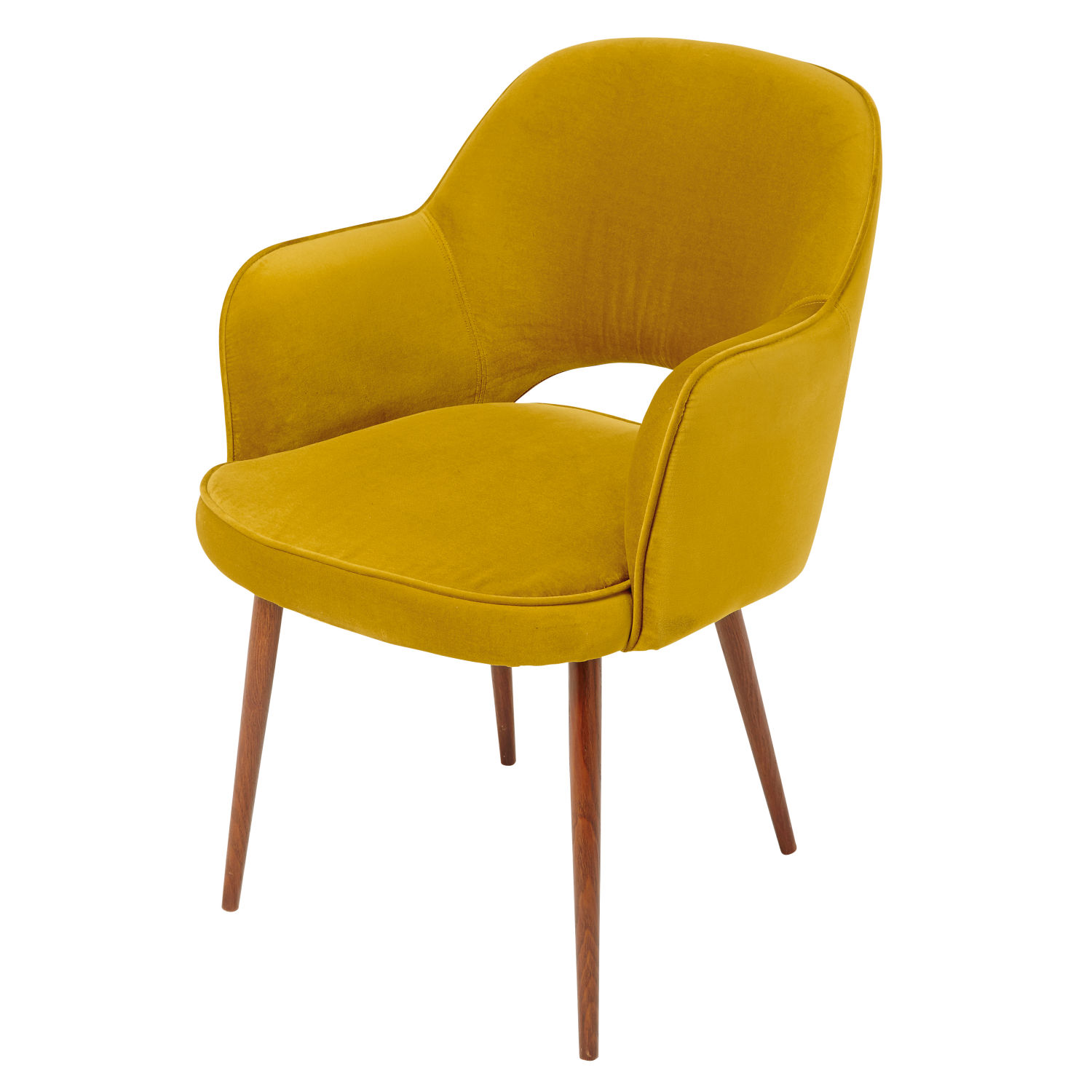 fauteuil en velours jaune moutarde et m tal h84 maisons du monde. Black Bedroom Furniture Sets. Home Design Ideas