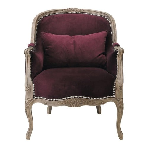fauteuil en velours violet montpensier maisons du monde. Black Bedroom Furniture Sets. Home Design Ideas