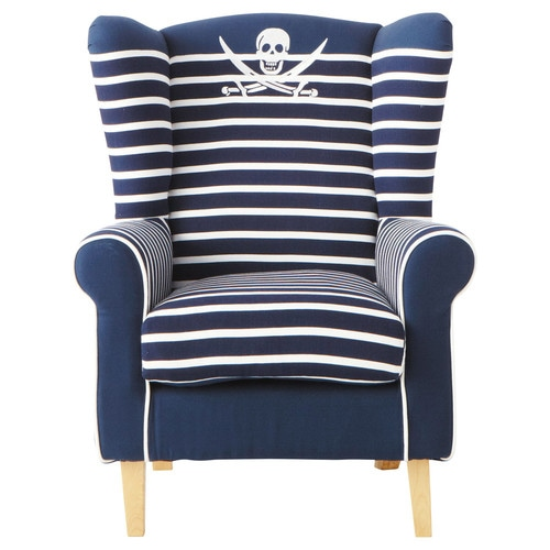 fauteuil enfant en coton ray bleu marine pirate maisons. Black Bedroom Furniture Sets. Home Design Ideas