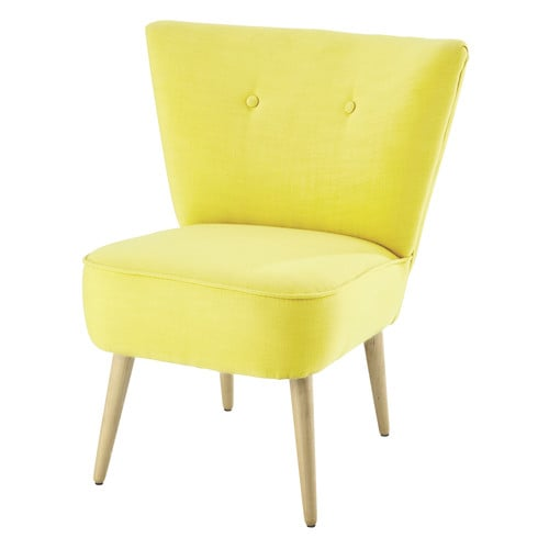 fauteuil vintage en coton jaune scandinave maisons du monde. Black Bedroom Furniture Sets. Home Design Ideas