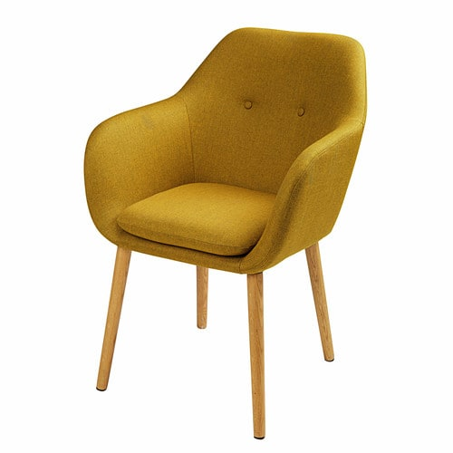 fauteuil vintage jaune moutarde arnold maisons du monde. Black Bedroom Furniture Sets. Home Design Ideas