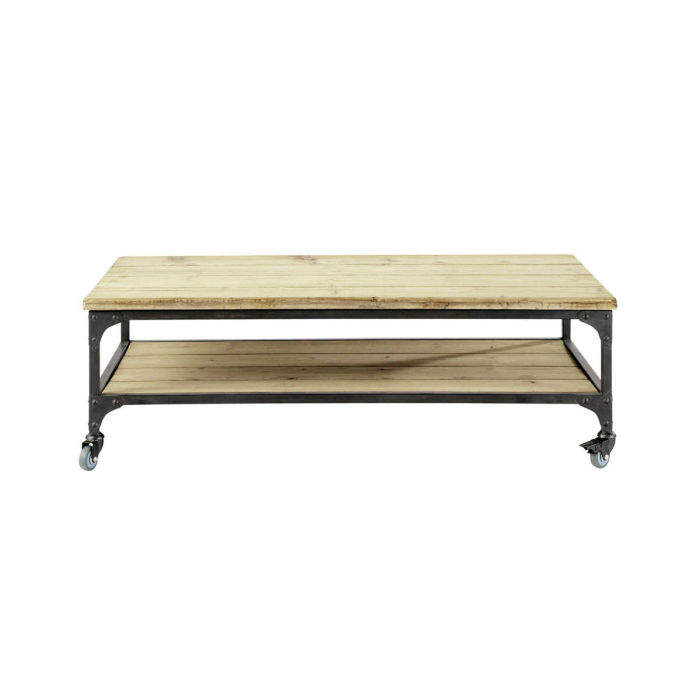 Fir And Metal Industrial Coffee Table On Castors