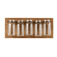 Fir Wall-Mount Holder with 5 Glass Jars Carly