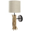 FJORD wood and cotton cloth wall light in beige H 20cm