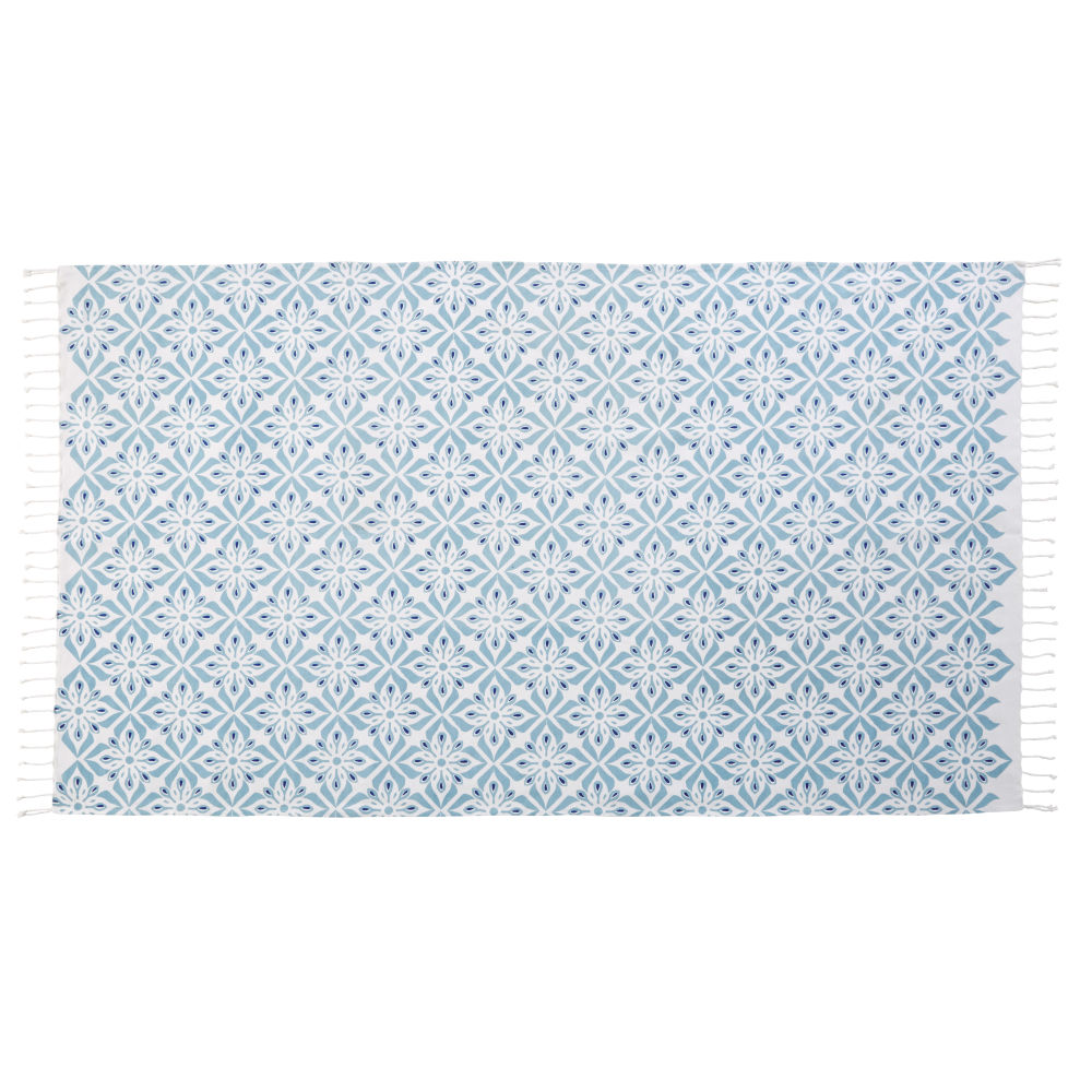Fouta en coton motifs carreaux de ciment 100x200 (photo)