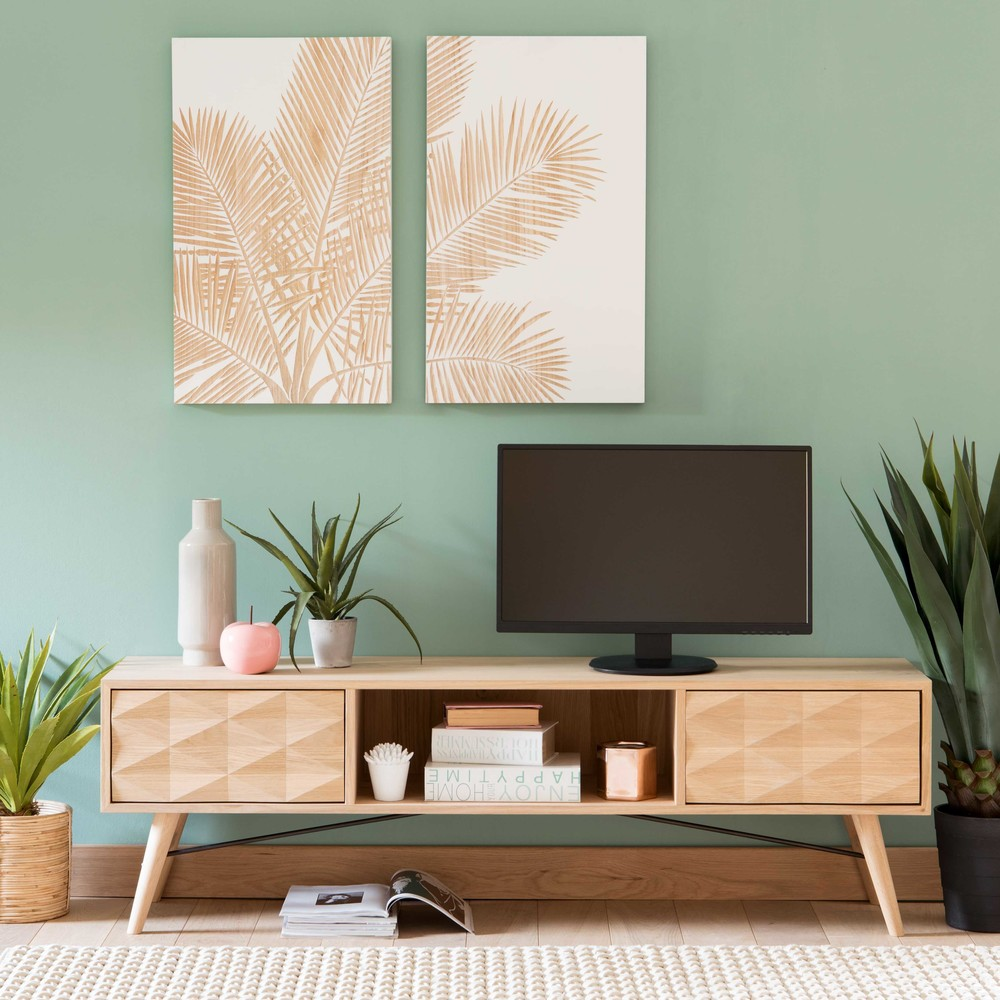 French Solid Oak 2 Drawer Tv Unit Maisons Du Monde # La Maison Du Monde Tv