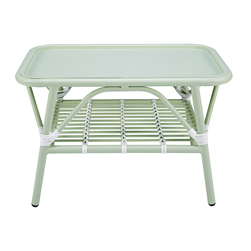 Garden coffee table in light green and white aluminium