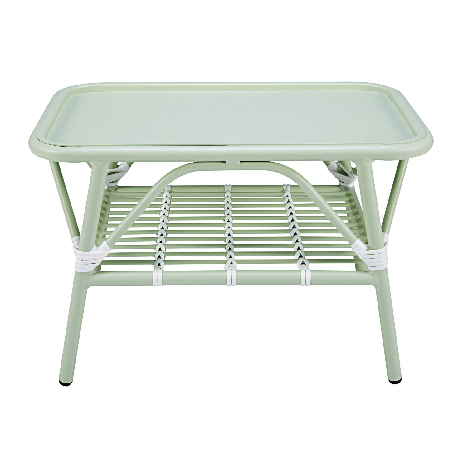 Garden Coffee Table In Light Green And White Aluminium Maisons Du Monde