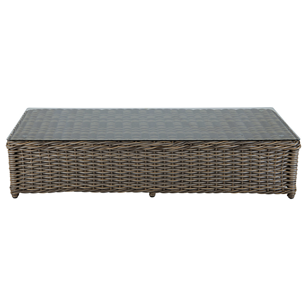 Garden coffee table in tempered glass and brown resin wicker