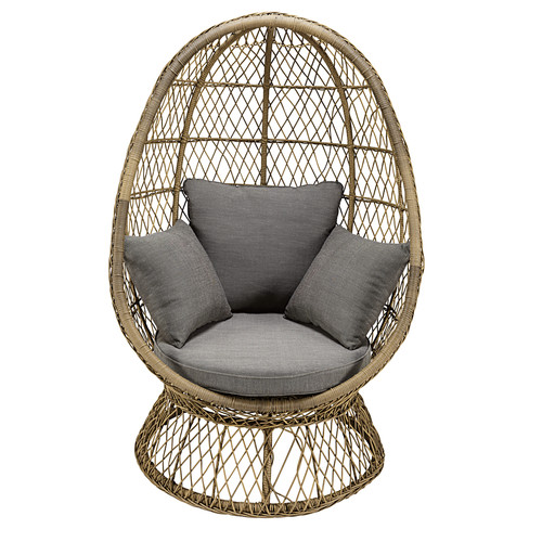 garden egg chair in resin wicker with grey cushion st rapha l maisons du monde. Black Bedroom Furniture Sets. Home Design Ideas