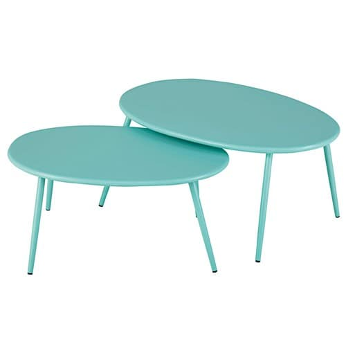 Garden Nest of Tables in Turquoise Metal