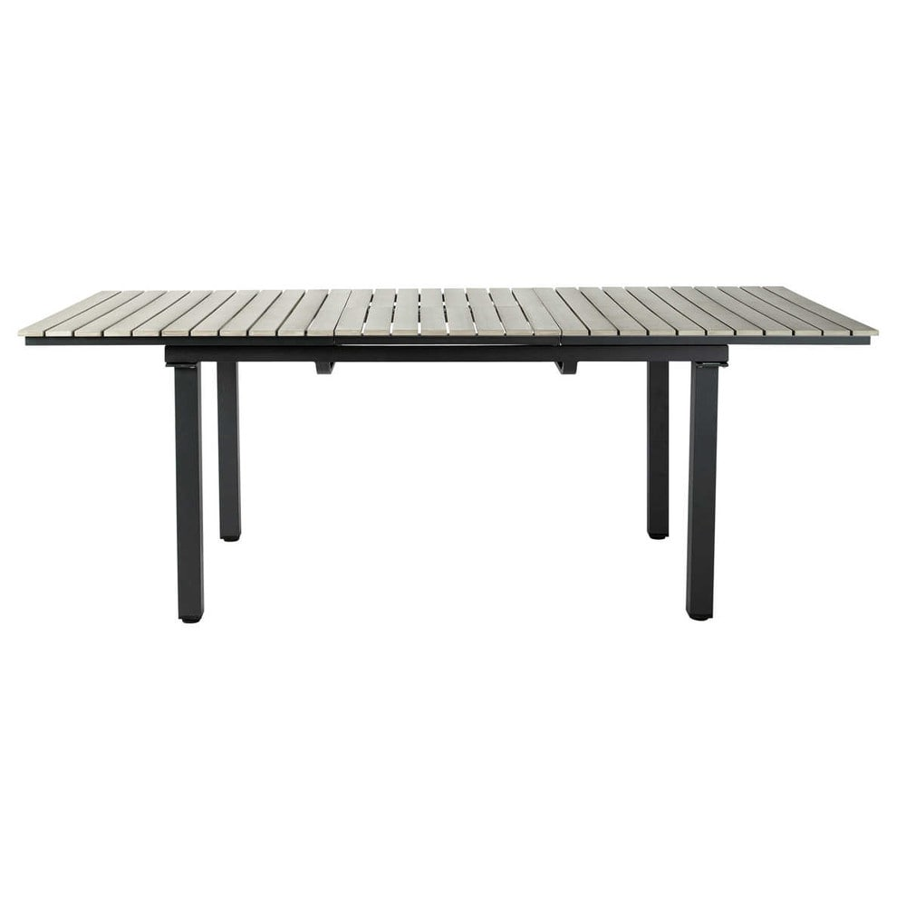 Garden table in imitation wood composite and aluminium in grey W 213cm