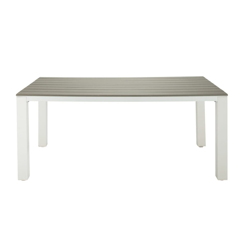 Garden table in imitation wood composite and aluminium in light grey W 180cm
