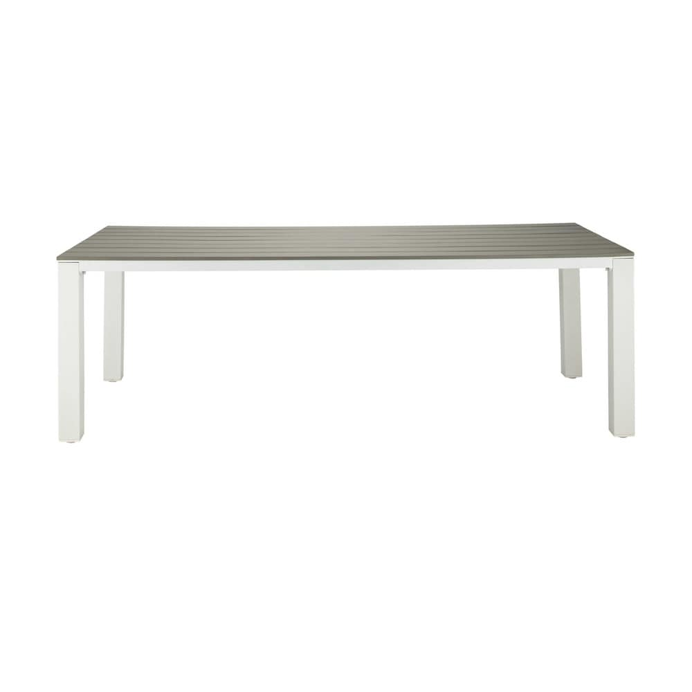 Garden table in imitation wood composite and aluminium in light grey W 230cm