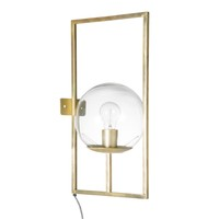Glass and Gold Metal Globe Wall Lamp