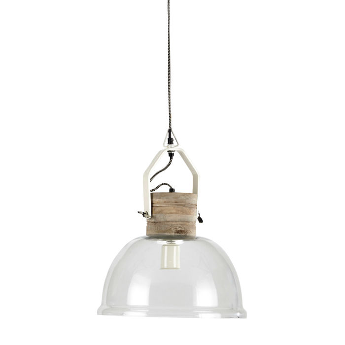 Glass And Mango Wood Pendant Lamp Snow Maisons Du Monde