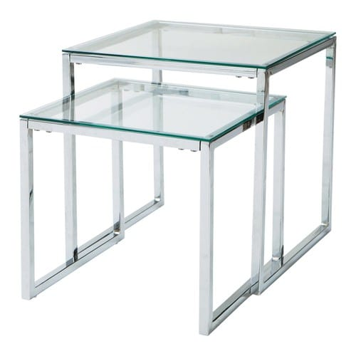 Lexington Chunky Chrome Coffee Table: Glass And Metal Nested Coffee Tables W 40cm And W 45cm