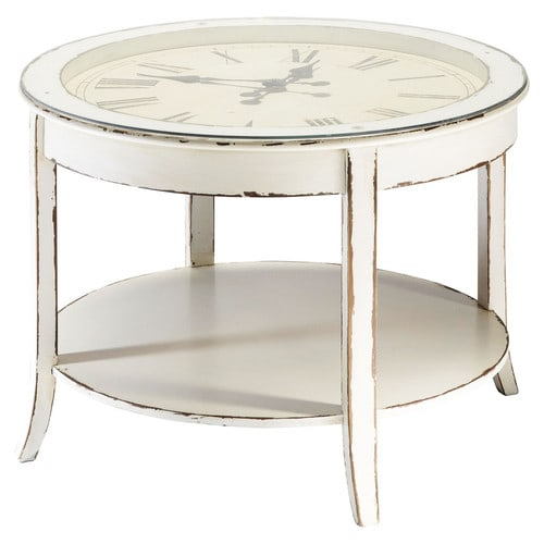 Glass and wood round clock coffee table in white with distressed finish d 72cm teatime maisons Coffee table with clock