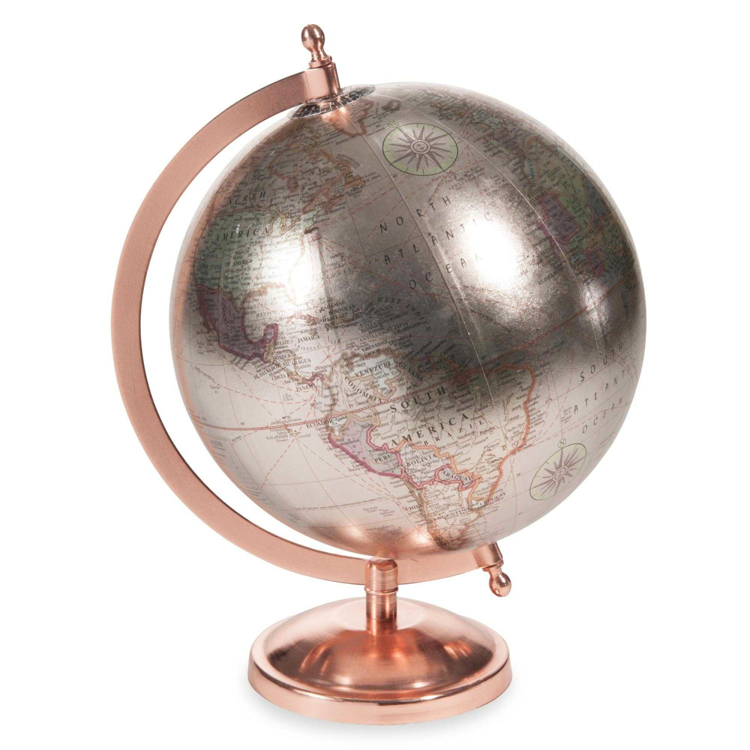 globe terrestre carte du monde argent et cuivr maisons du monde. Black Bedroom Furniture Sets. Home Design Ideas