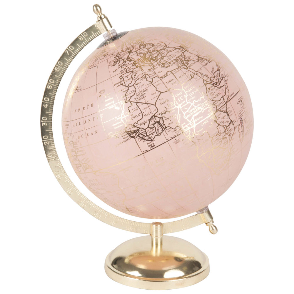 Globe terrestre carte du monde rose et doré (photo)