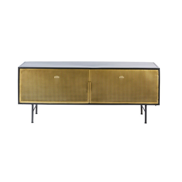 separation shoes 0b99b 72366 Gold and Black Metal 2-Door TV Cabinet