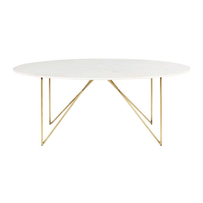 Gold Iron And White Marble 4 6 Seater Dining Table W 200 Cm