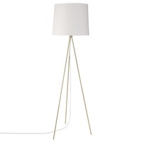 Gold Metal Tripod Floor Lamp with White Cotton Shade