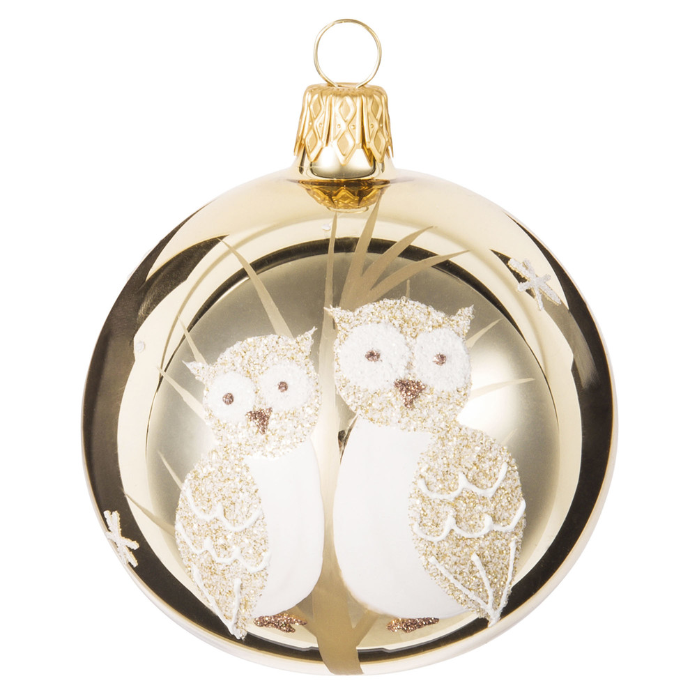 GOLD Owl Print Gold Glass Bauble