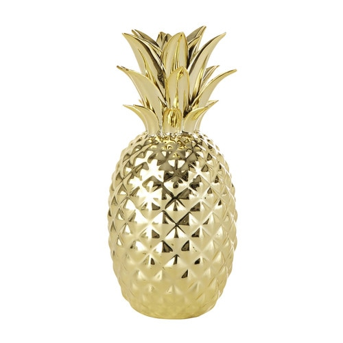 gold pineapple ornament h 23 cm maisons du monde. Black Bedroom Furniture Sets. Home Design Ideas