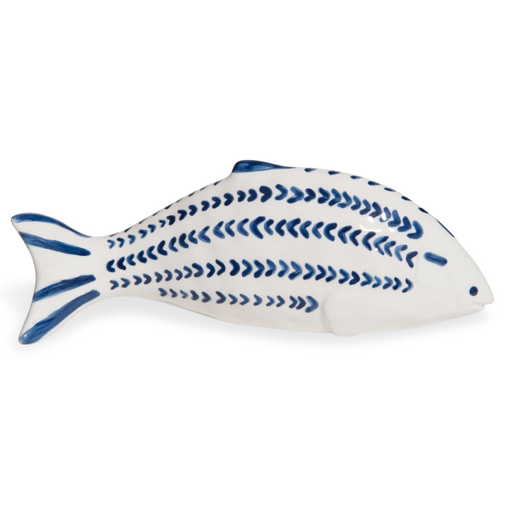 GRANVILLE white and blue dolomite fish figurine L 33 cm
