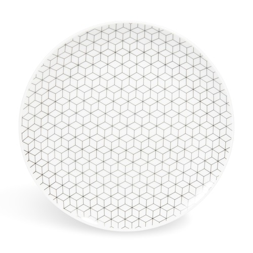 graphique porcelain dessert plate d 19cm maisons du monde. Black Bedroom Furniture Sets. Home Design Ideas