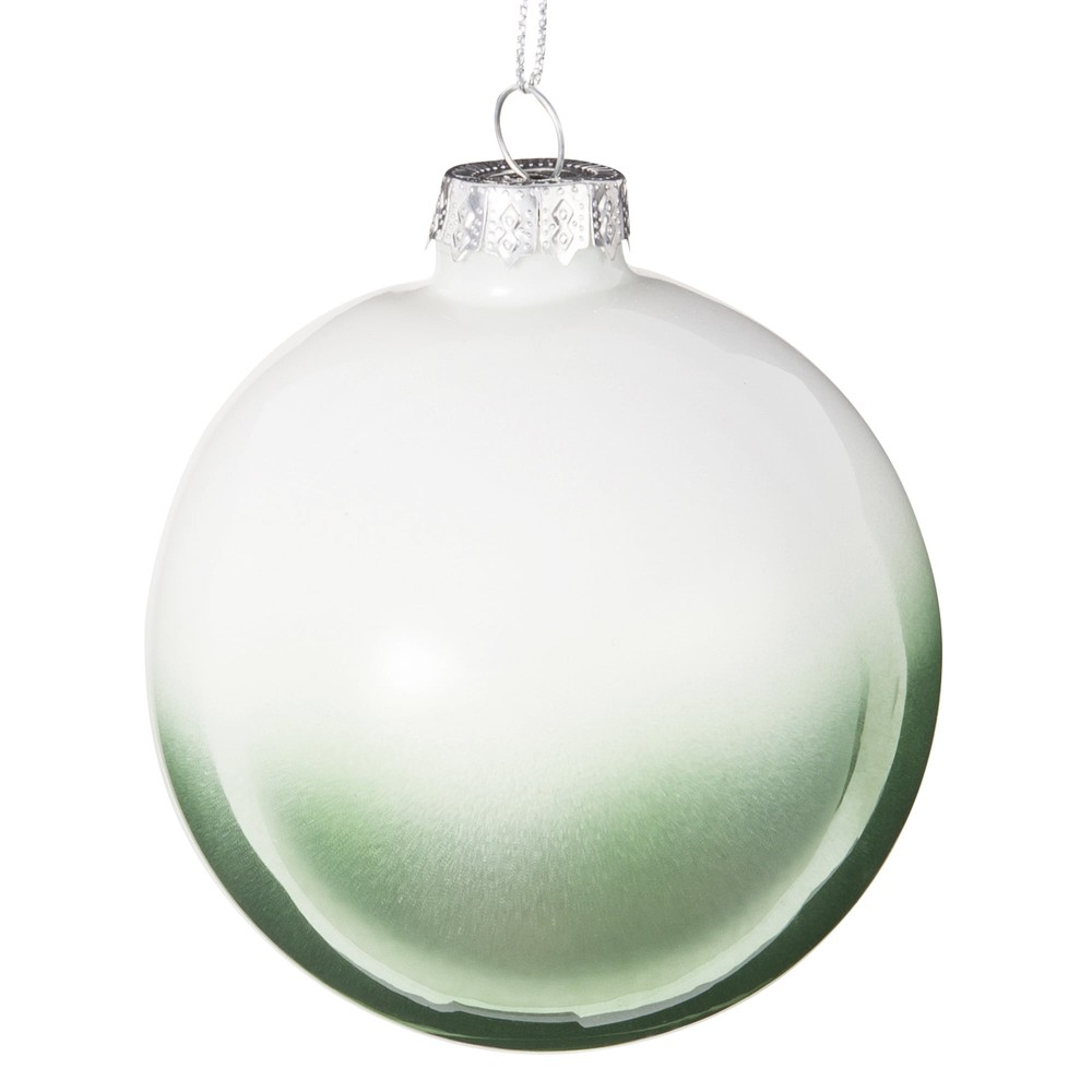 Green and White Shaded Glass Bauble