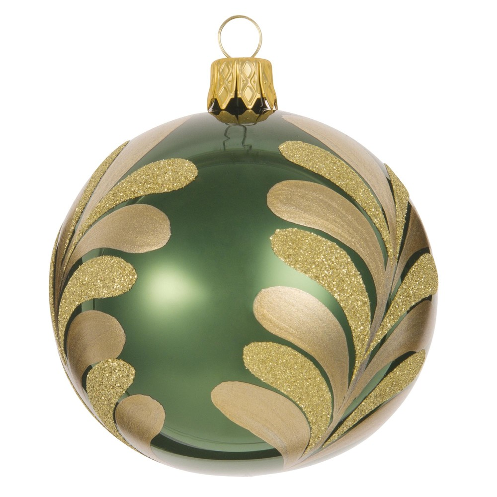 GREEN Green Glass Bauble with Leaf Print