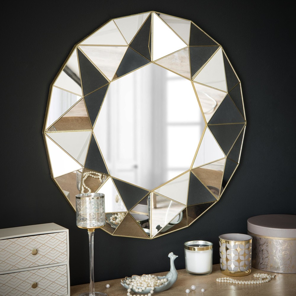 Mirror With 3d Geometric Patterns D 60 Cm Fiorenza Maisons Du Monde