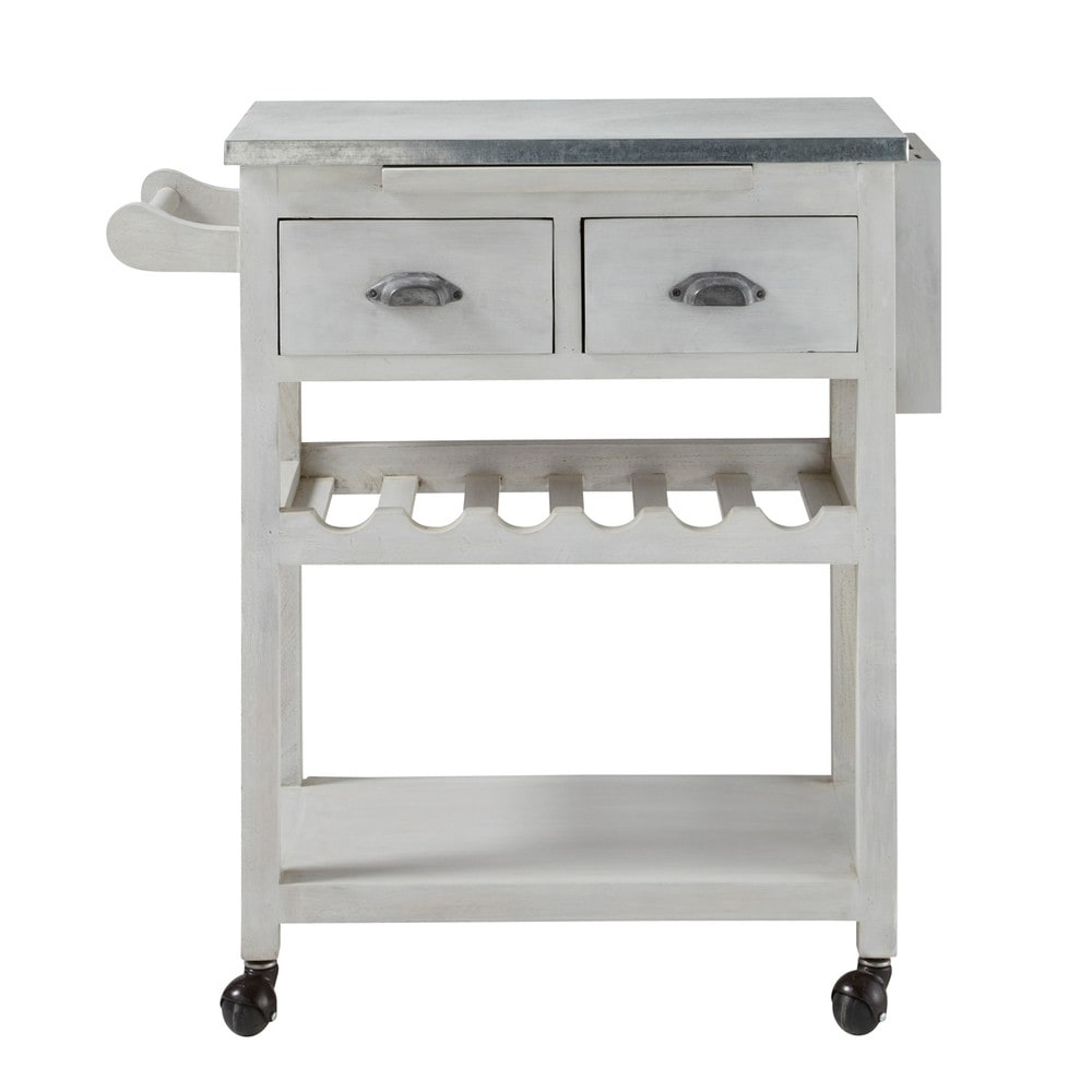 Grey acacia wood kitchen trolley L 80 cm