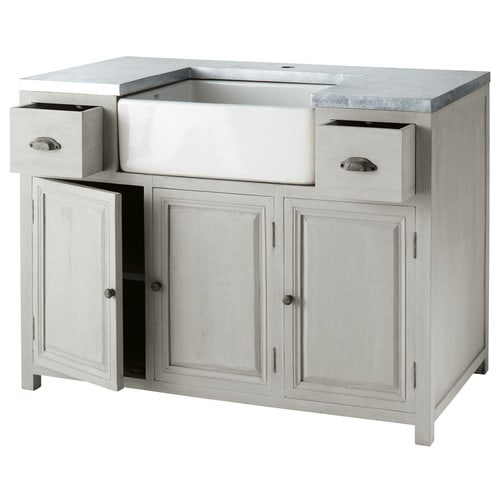 Grey acacia wood lower kitchen cabinet with sink l 120 cm for Acacia wood kitchen cabinets