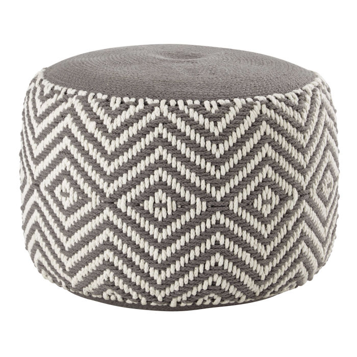 Grey And White Cotton Pouffe Warm Maisons Du Monde