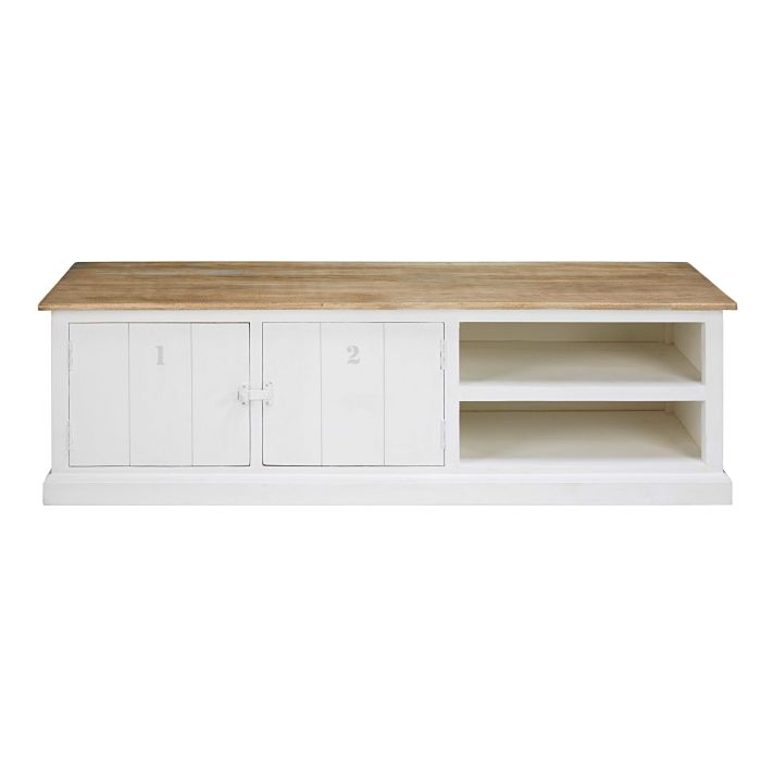 Grey And White Solid Mango Wood 2 Door Tv Unit Maisons Du Monde # Meuble Tv Mango