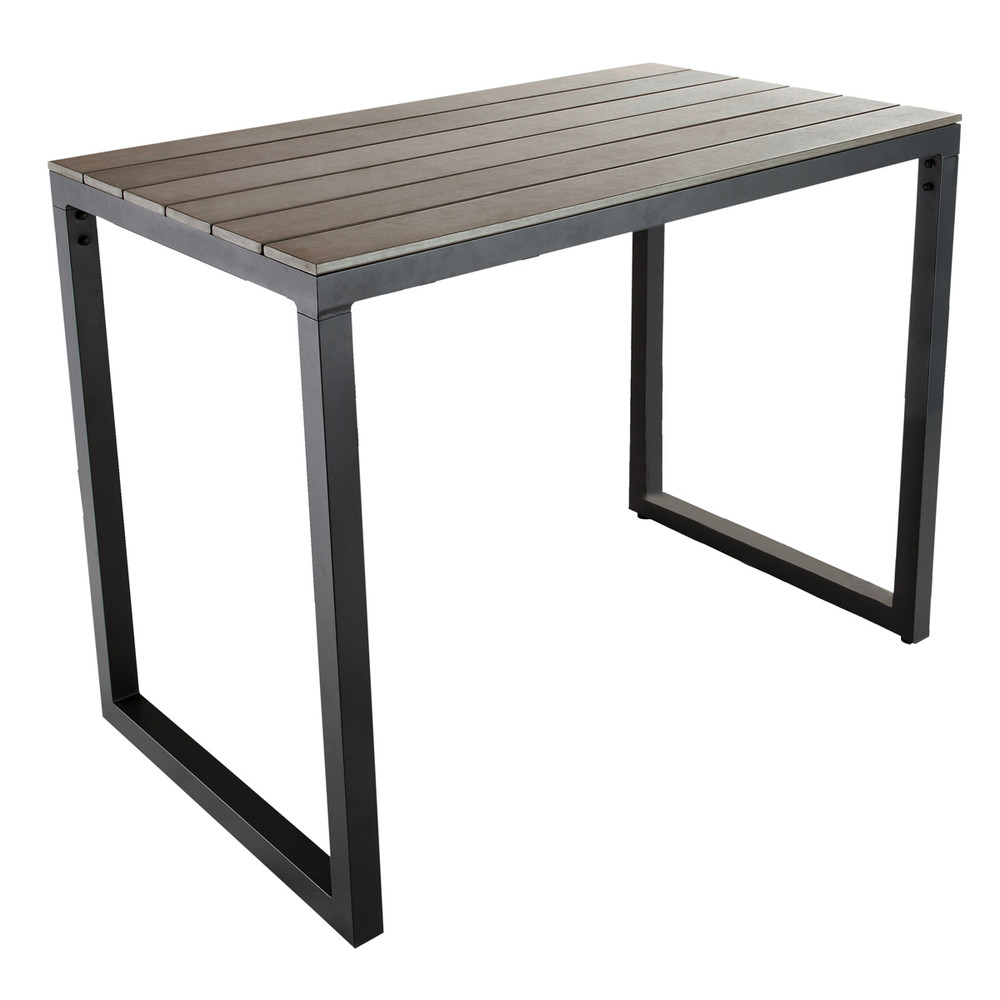 Grey garden high table in aluminium W 128cm