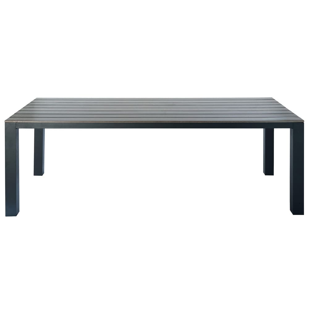 Grey garden table in aluminium W 230cm