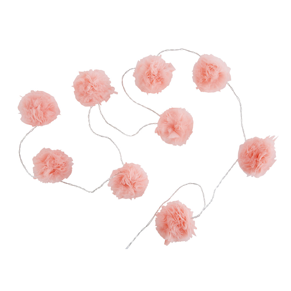 Guirlande lumineuse 9 LED pompons roses L214 (photo)