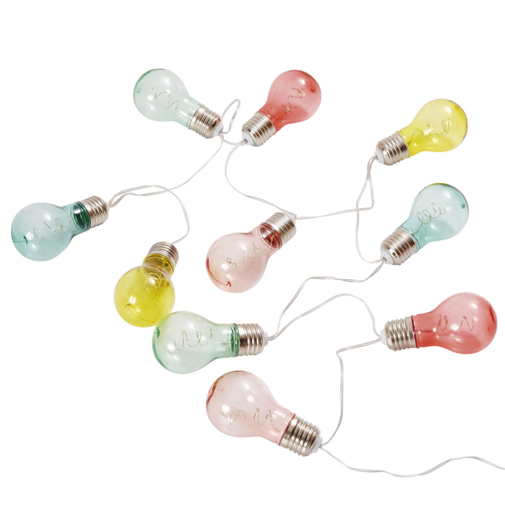 Guirlande lumineuse ampoules 10 LED multicolore L163 (photo)