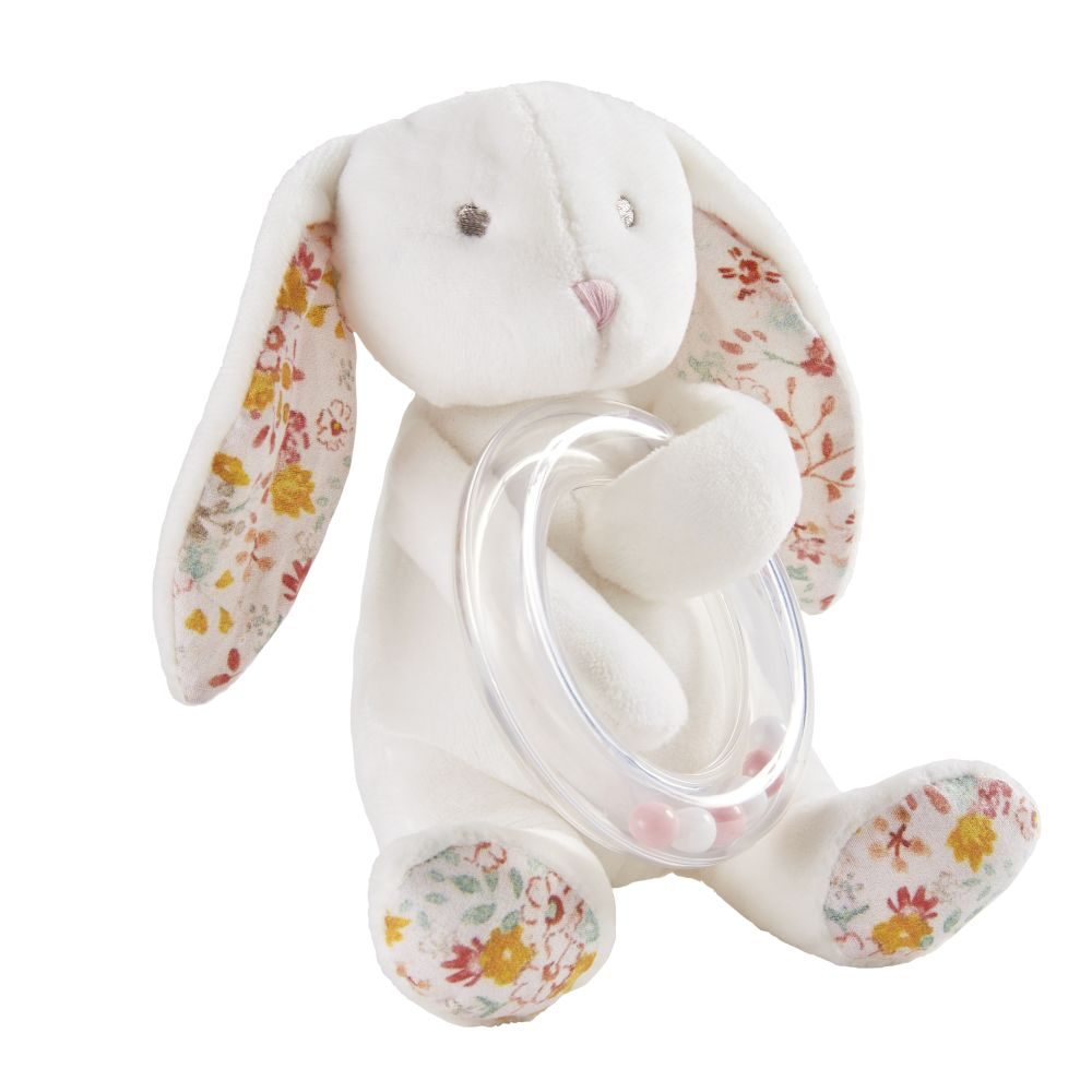 Hochet lapin blanc et rose (photo)
