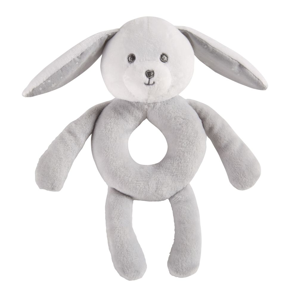 Hochet lapin gris et blanc (photo)