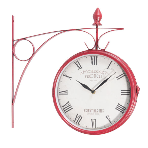 Horloge applique en métal rouge D 42 cm APOTHECARY (photo)