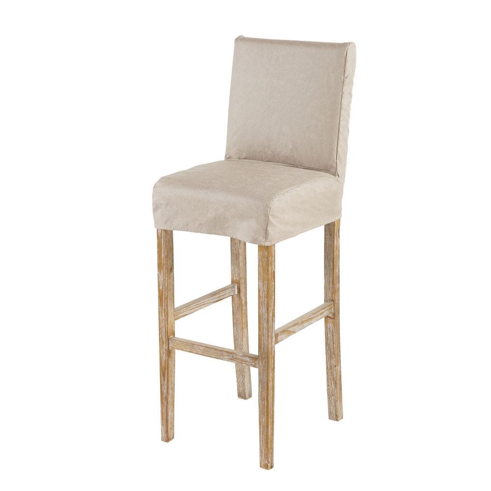 Housse de chaise de bar en suédine beige (photo)