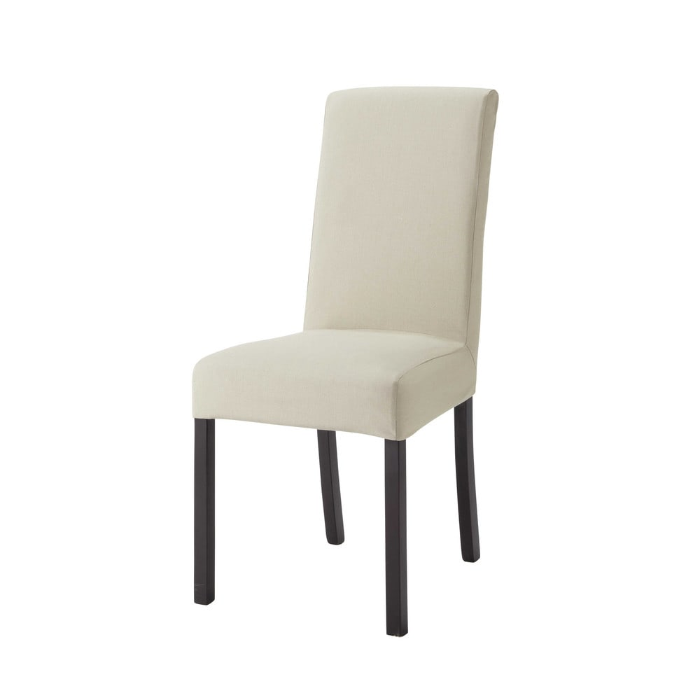 Housse de chaise en coton beige mastic 47x57 Margaux (photo)