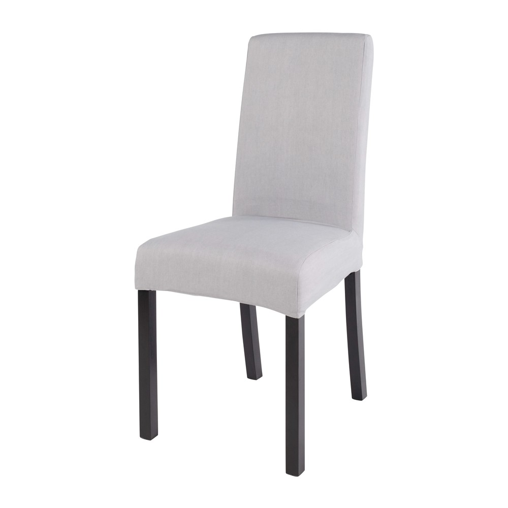 Housse de chaise en coton gris 41x70 (photo)