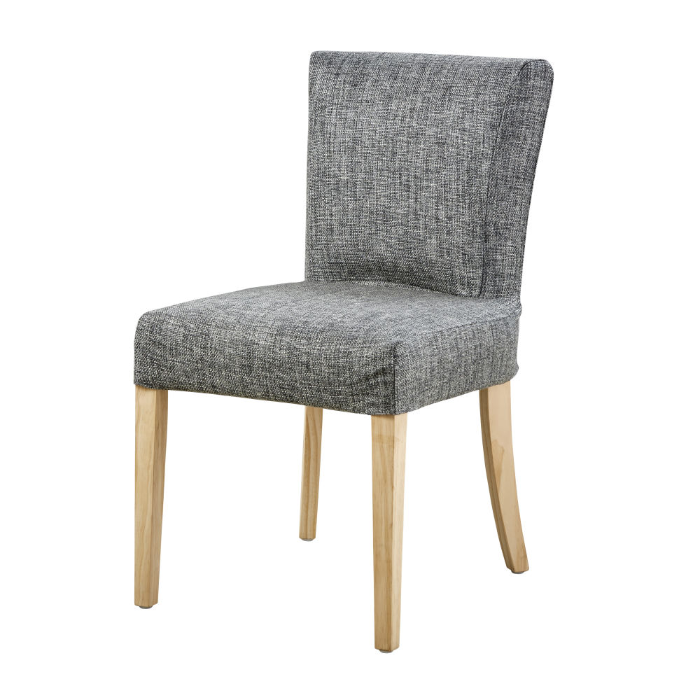 Housse de chaise en coton gris carbone (photo)