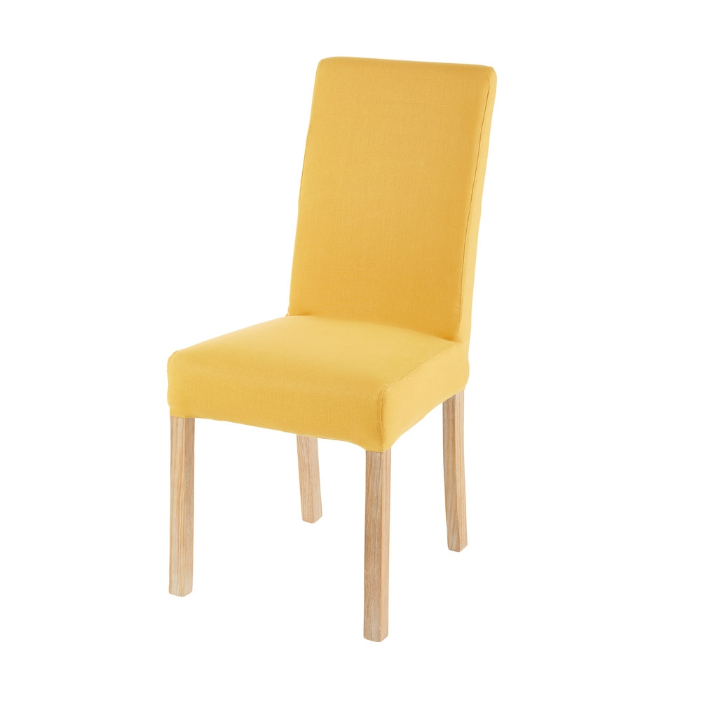 Housse de chaise en coton jaune moutarde 41x70 (photo)